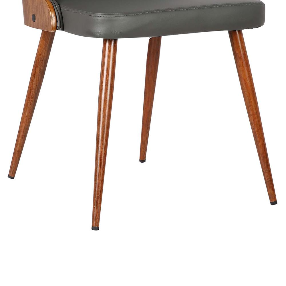 Mid-Century Dining Chair in Walnut Finish and Gray Faux Leather. Picture 7