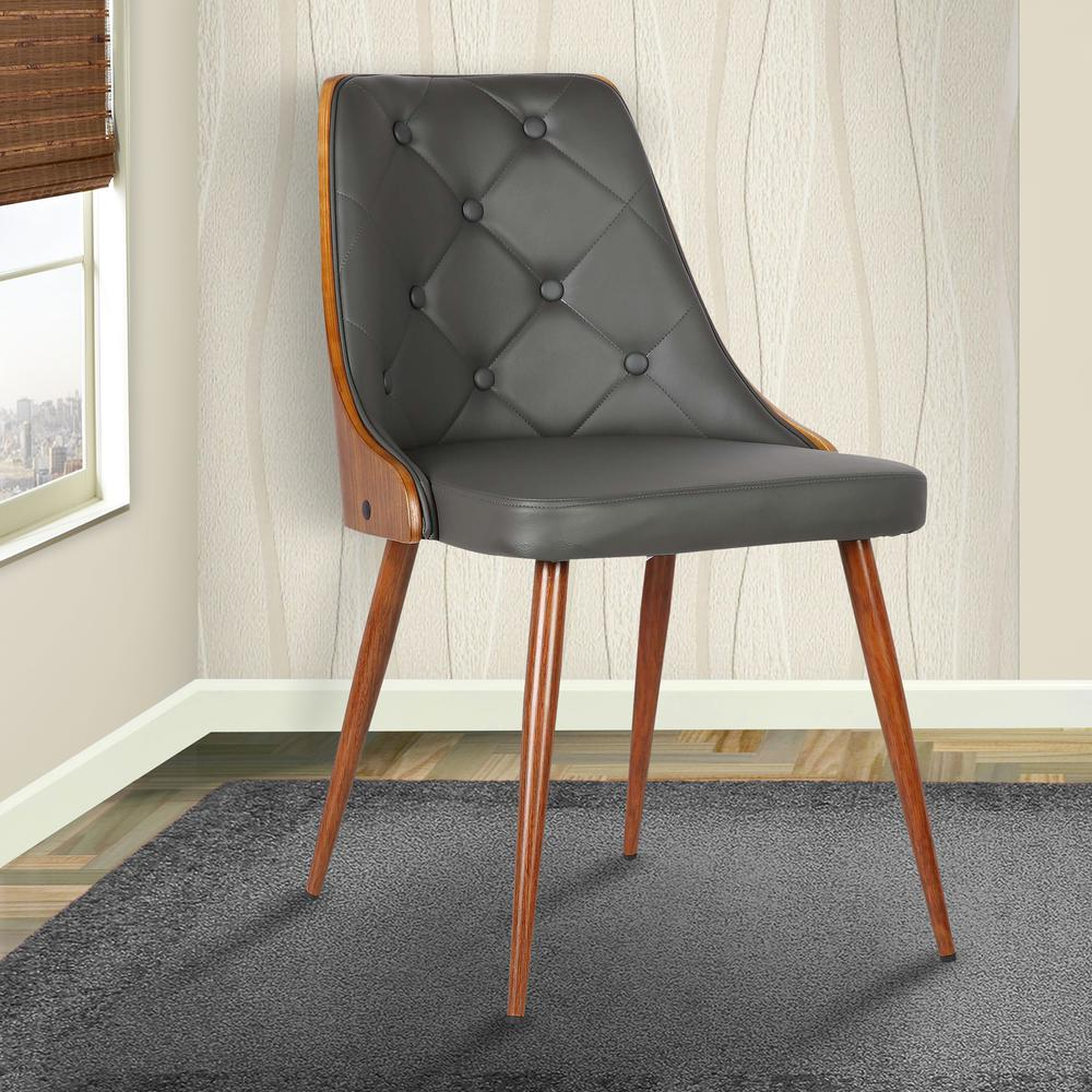 Mid-Century Dining Chair in Walnut Finish and Gray Faux Leather. Picture 8