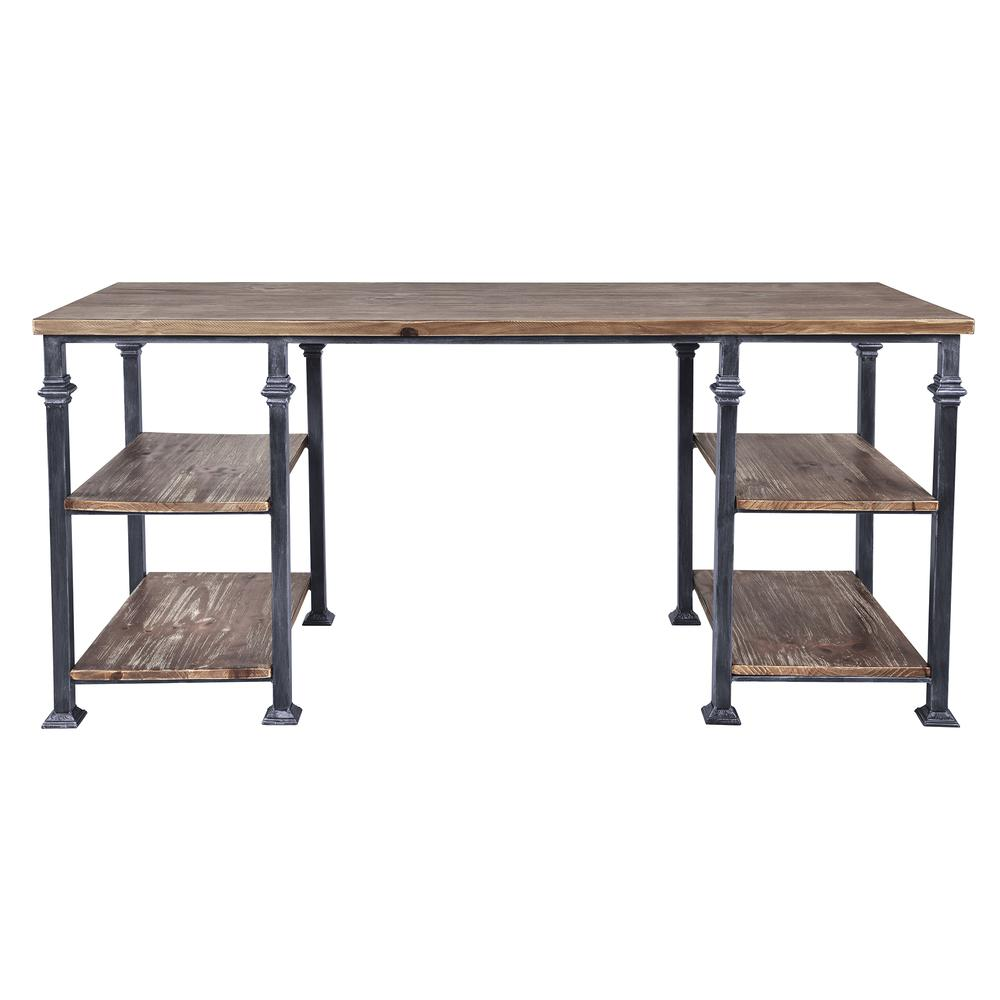 Liam Industrial Desk in Industrial Grey and Pine Wood Top. Picture 1