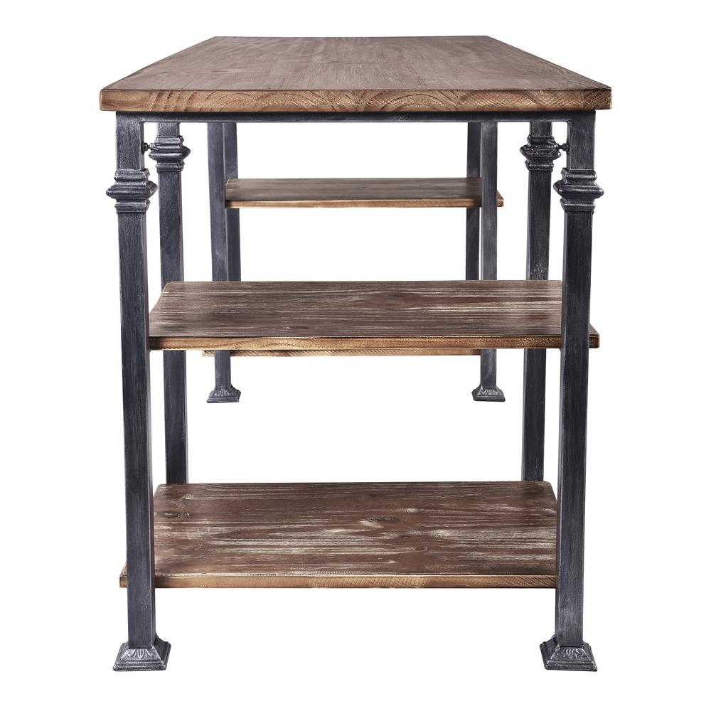 Liam Industrial Desk in Industrial Grey and Pine Wood Top. Picture 3