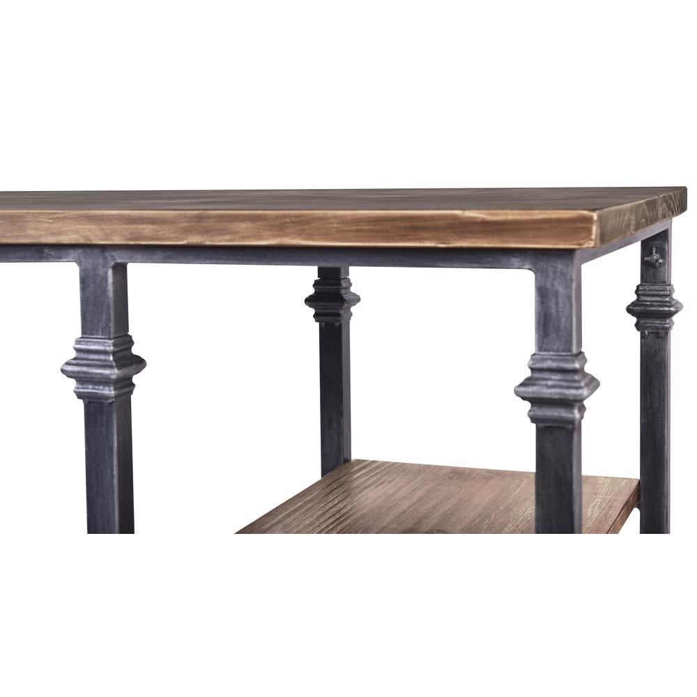 Liam Industrial Desk in Industrial Grey and Pine Wood Top. Picture 4