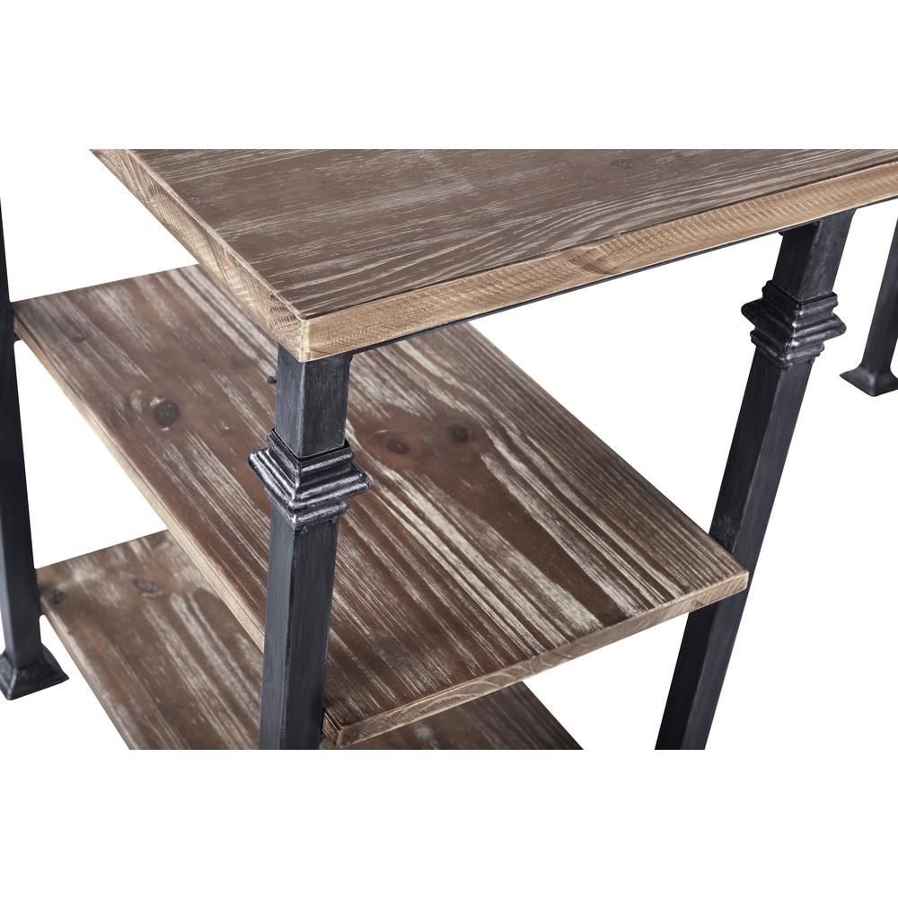 Liam Industrial Desk in Industrial Grey and Pine Wood Top. Picture 5