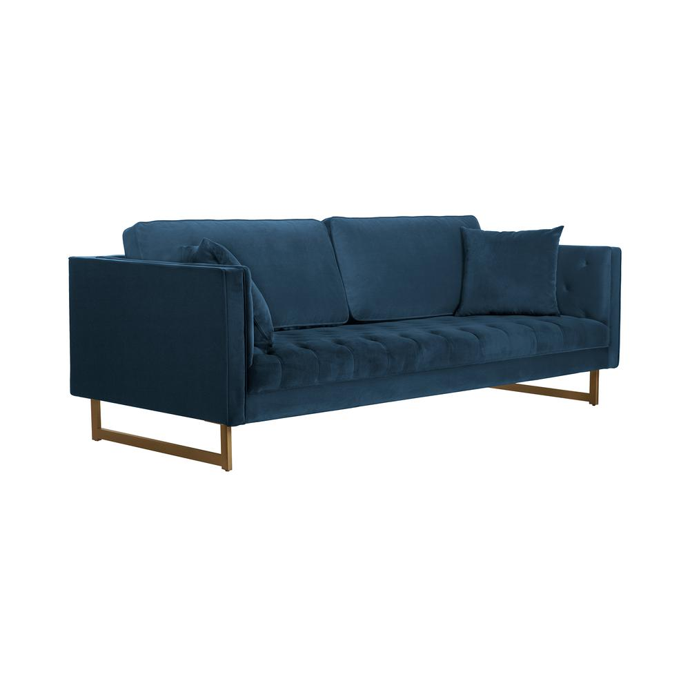 Lenox Blue Velvet Modern Sofa with Brass Legs, Natural Color. Picture 1