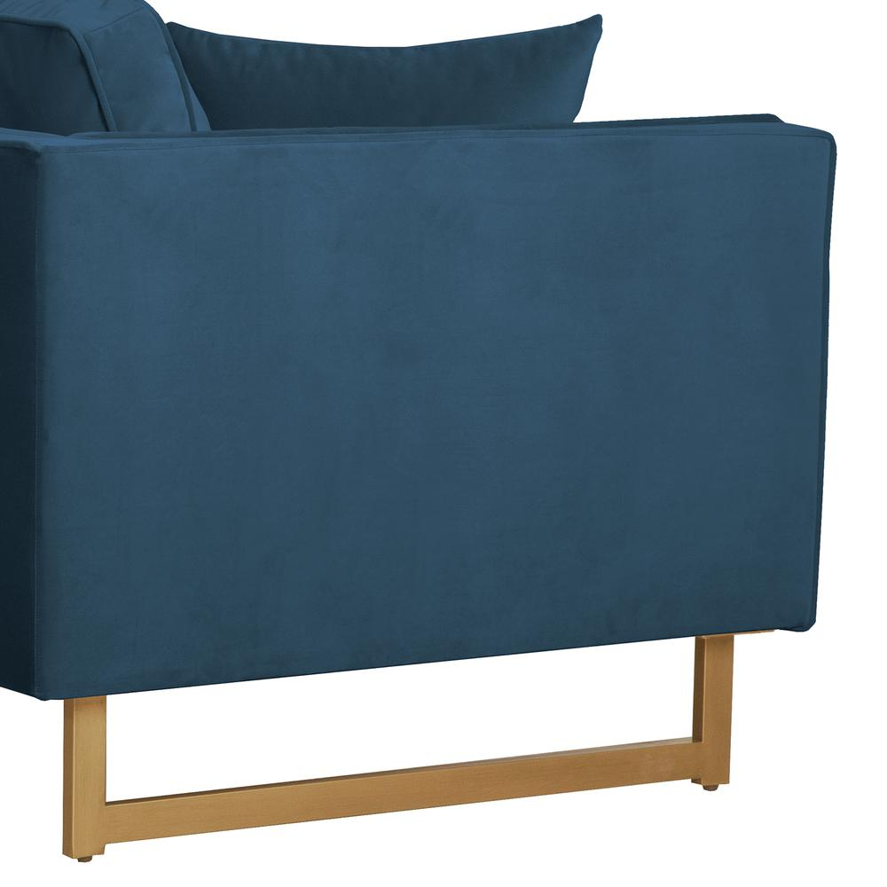 Lenox Blue Velvet Modern Sofa with Brass Legs, Natural Color. Picture 2