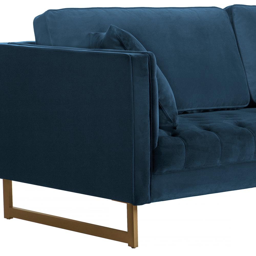 Lenox Blue Velvet Modern Sofa with Brass Legs, Natural Color. Picture 3