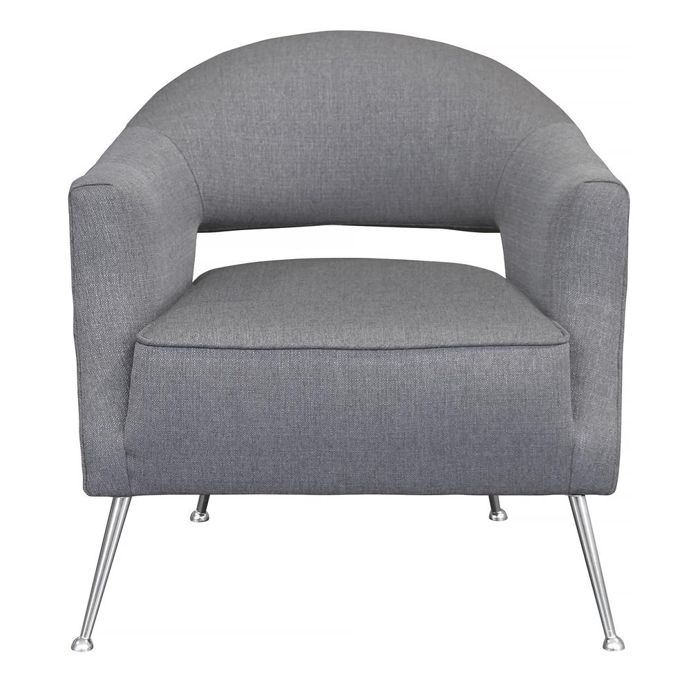 Contemporary Accent Chair in Brushed Stainless Steel Finish with Grey Fabric. Picture 1
