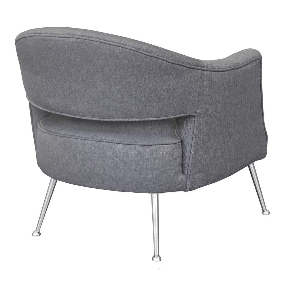 Contemporary Accent Chair in Brushed Stainless Steel Finish with Grey Fabric. Picture 2