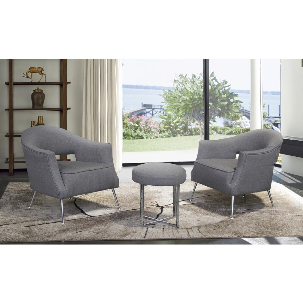Contemporary Accent Chair in Brushed Stainless Steel Finish with Grey Fabric. Picture 3