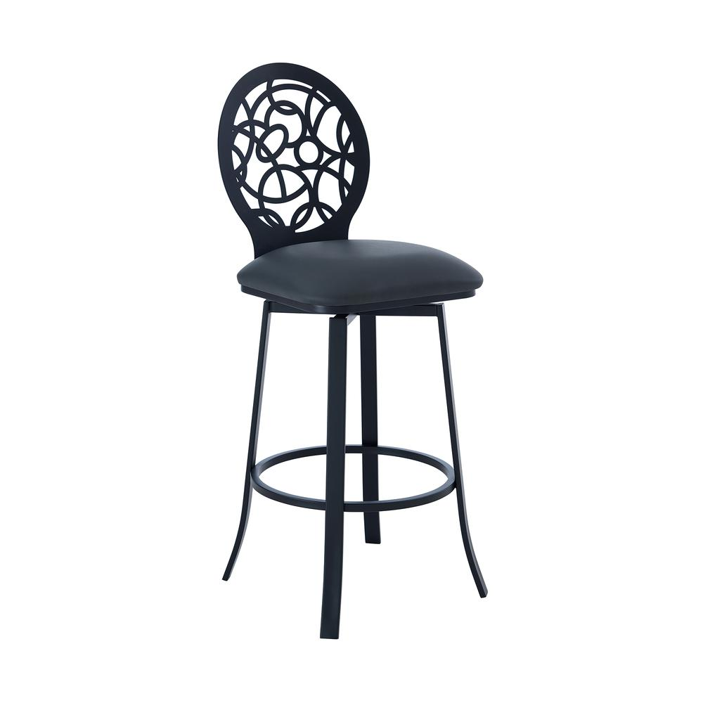 """Contemporary 26"""" Counter Height Barstool in Matte Black Finish and Grey Faux Leather. Picture 1"""