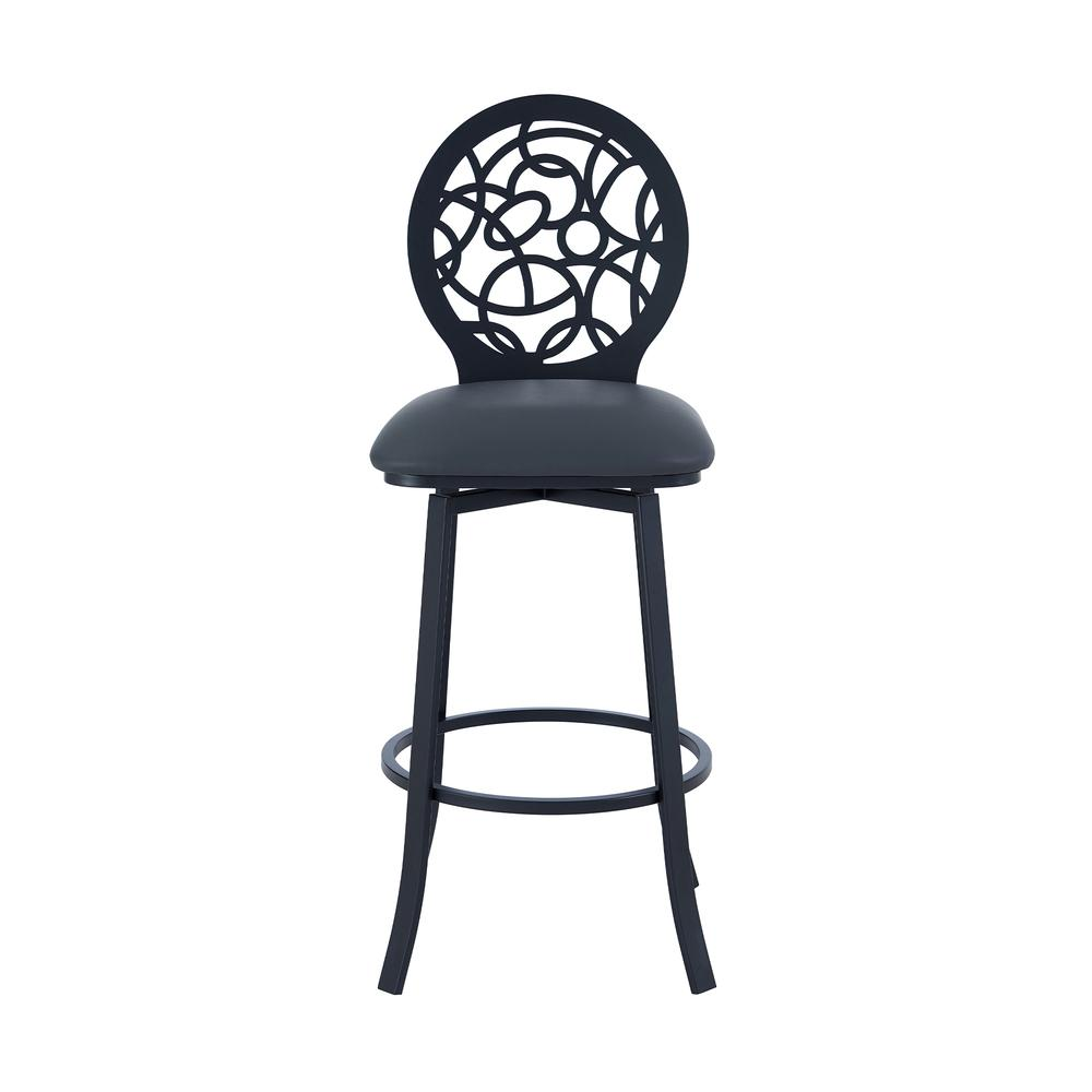 """Contemporary 26"""" Counter Height Barstool in Matte Black Finish and Grey Faux Leather. Picture 2"""