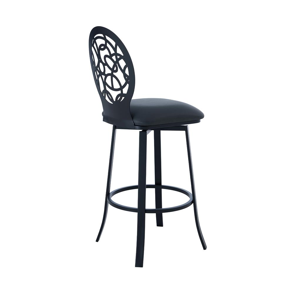 """Contemporary 26"""" Counter Height Barstool in Matte Black Finish and Grey Faux Leather. Picture 3"""