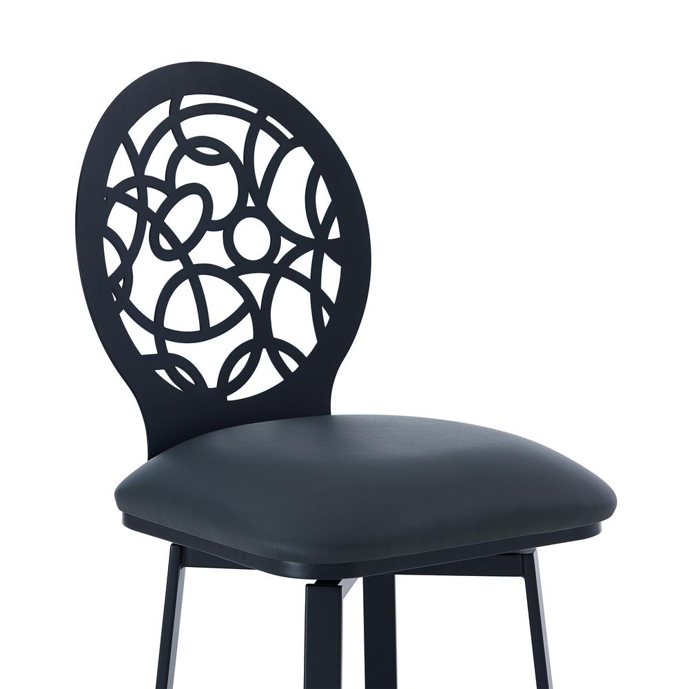 """Contemporary 26"""" Counter Height Barstool in Matte Black Finish and Grey Faux Leather. Picture 4"""