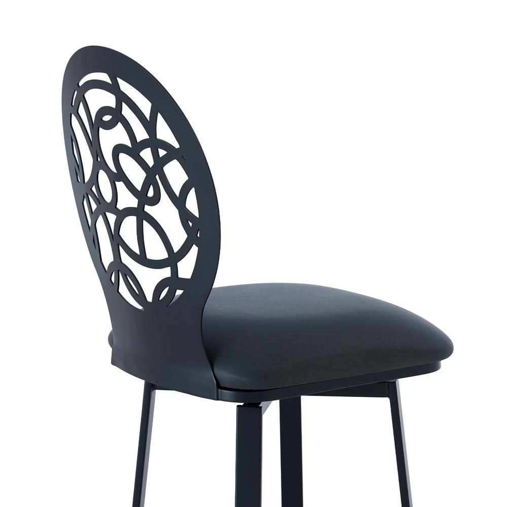 """Contemporary 26"""" Counter Height Barstool in Matte Black Finish and Grey Faux Leather. Picture 5"""
