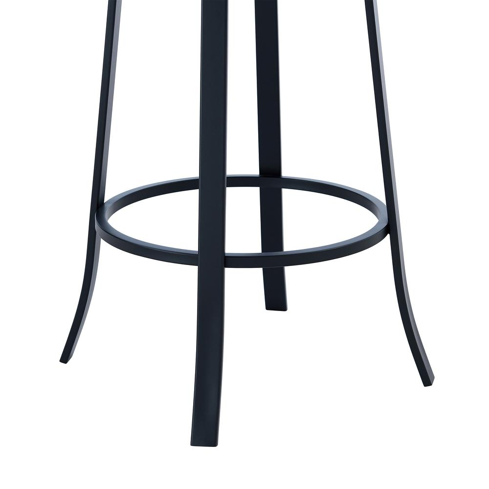 """Contemporary 26"""" Counter Height Barstool in Matte Black Finish and Grey Faux Leather. Picture 6"""