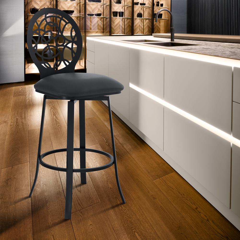 """Contemporary 26"""" Counter Height Barstool in Matte Black Finish and Grey Faux Leather. Picture 7"""