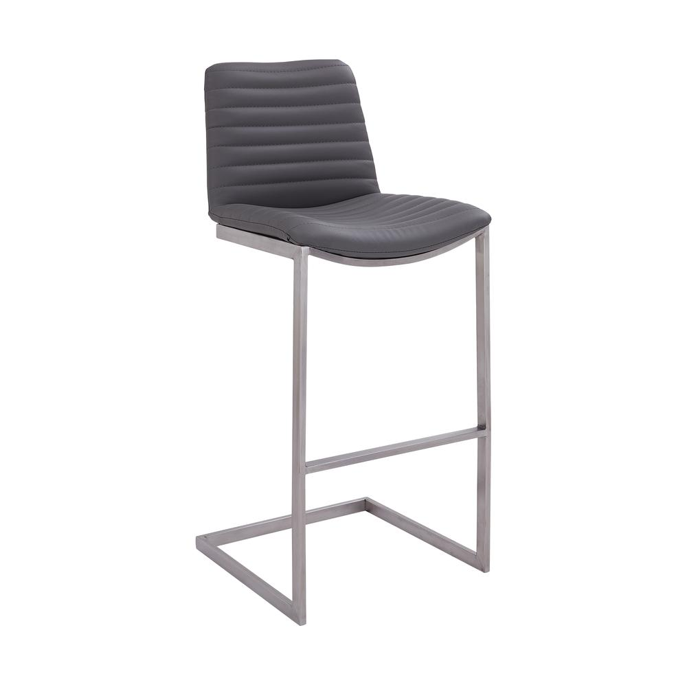 """Lucas Contemporary 30"""" Bar Height Barstool in Brushed Stainless Steel Finish and Grey Faux Leather. Picture 1"""