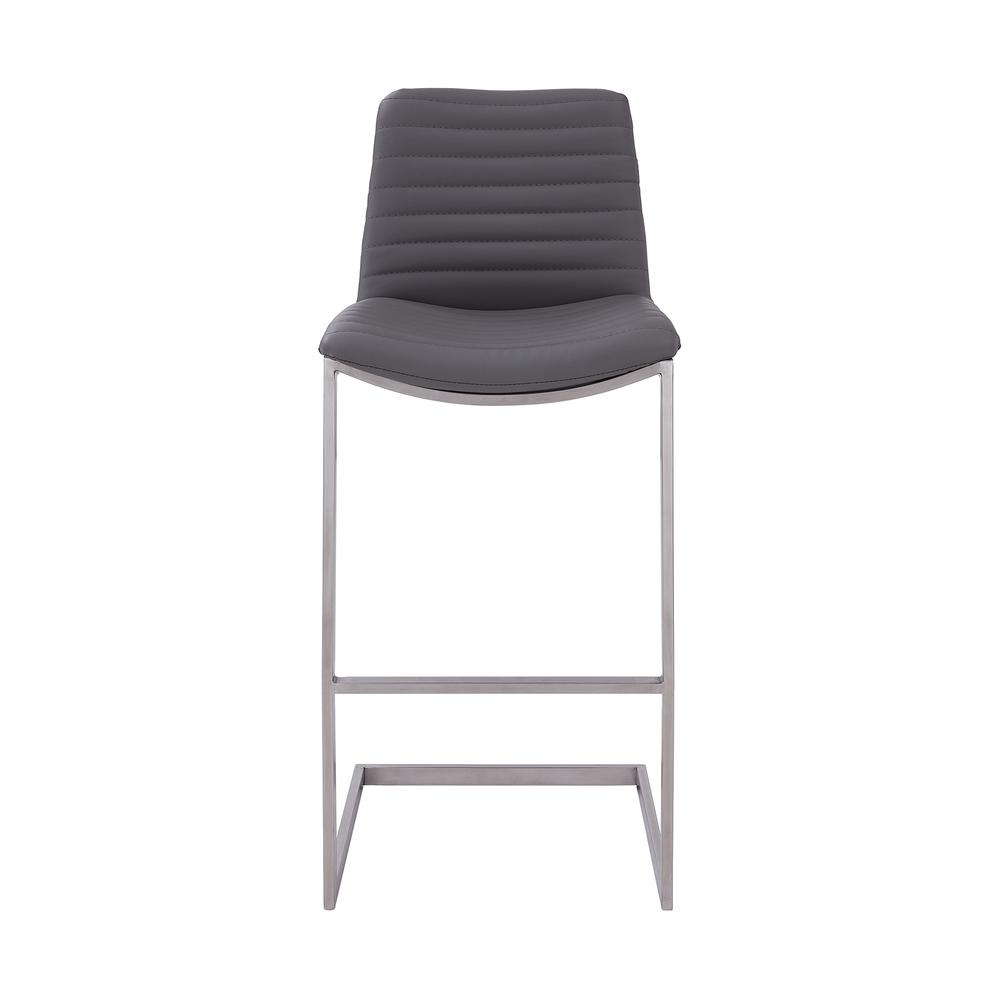 """Lucas Contemporary 30"""" Bar Height Barstool in Brushed Stainless Steel Finish and Grey Faux Leather. Picture 2"""