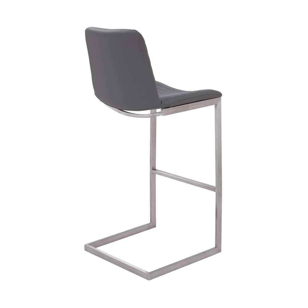 """Lucas Contemporary 30"""" Bar Height Barstool in Brushed Stainless Steel Finish and Grey Faux Leather. Picture 3"""