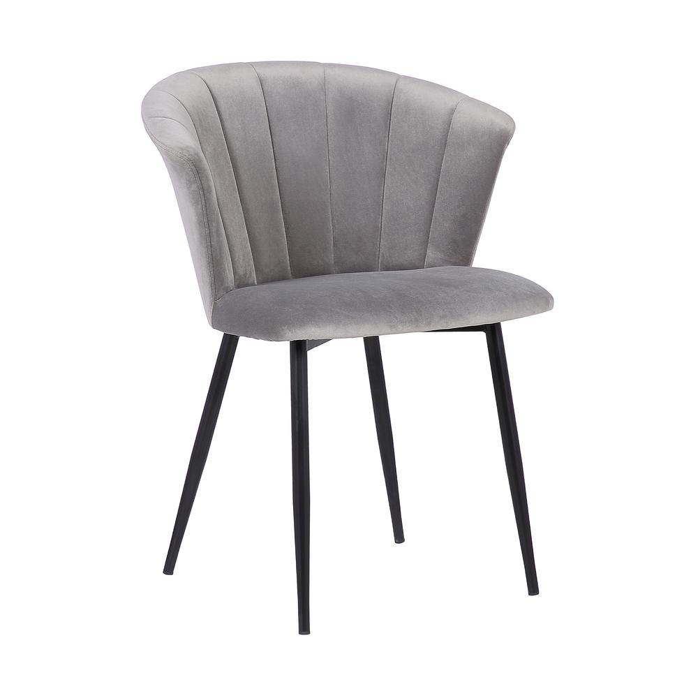 Lulu Contemporary Dining Chair in Black Powder Coated Finish and Grey Velvet. Picture 1