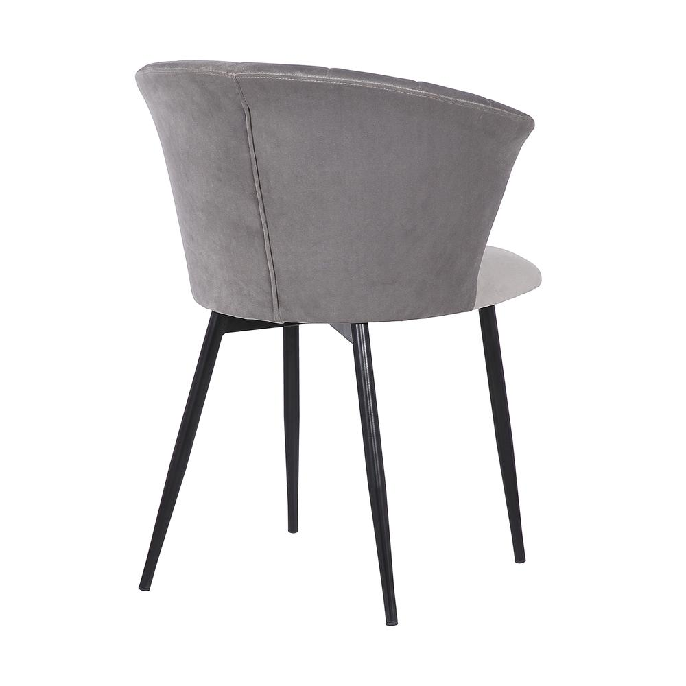 Lulu Contemporary Dining Chair in Black Powder Coated Finish and Grey Velvet. Picture 4