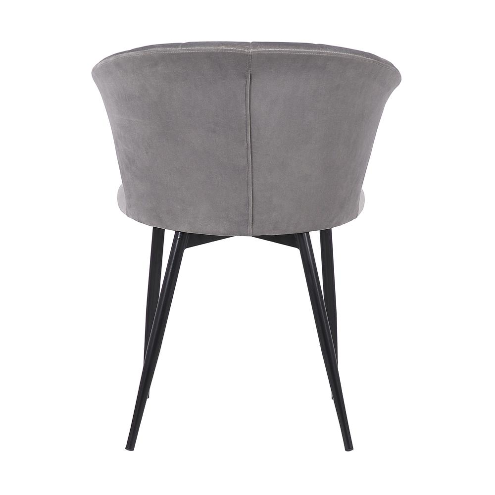 Lulu Contemporary Dining Chair in Black Powder Coated Finish and Grey Velvet. Picture 5
