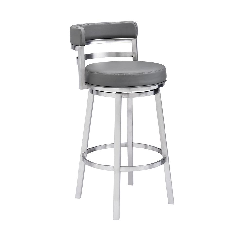 "Madrid Contemporary 26"" Counter Height Barstool in Brushed Stainless Steel Finish and Grey Faux Leather. Picture 1"
