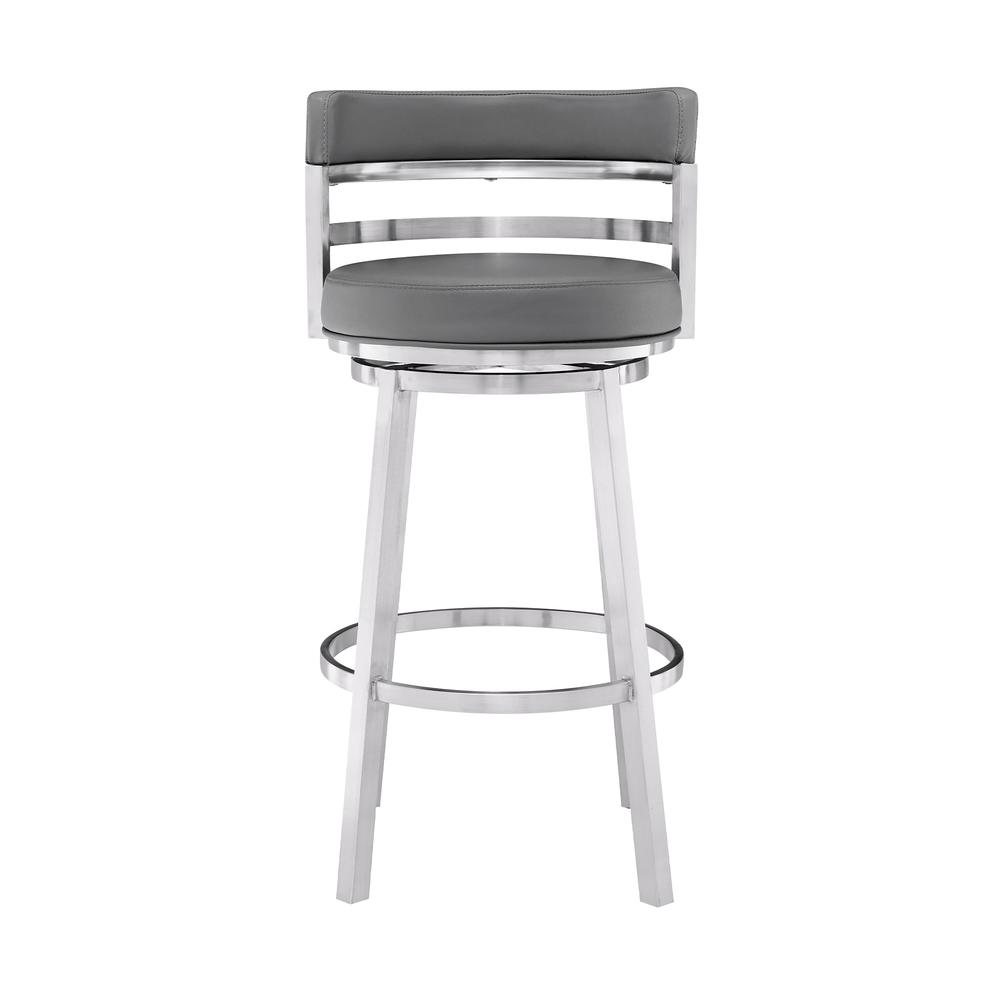 "Madrid Contemporary 26"" Counter Height Barstool in Brushed Stainless Steel Finish and Grey Faux Leather. Picture 2"