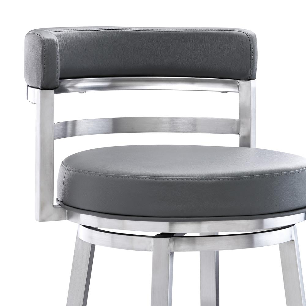 "Madrid Contemporary 26"" Counter Height Barstool in Brushed Stainless Steel Finish and Grey Faux Leather. Picture 4"