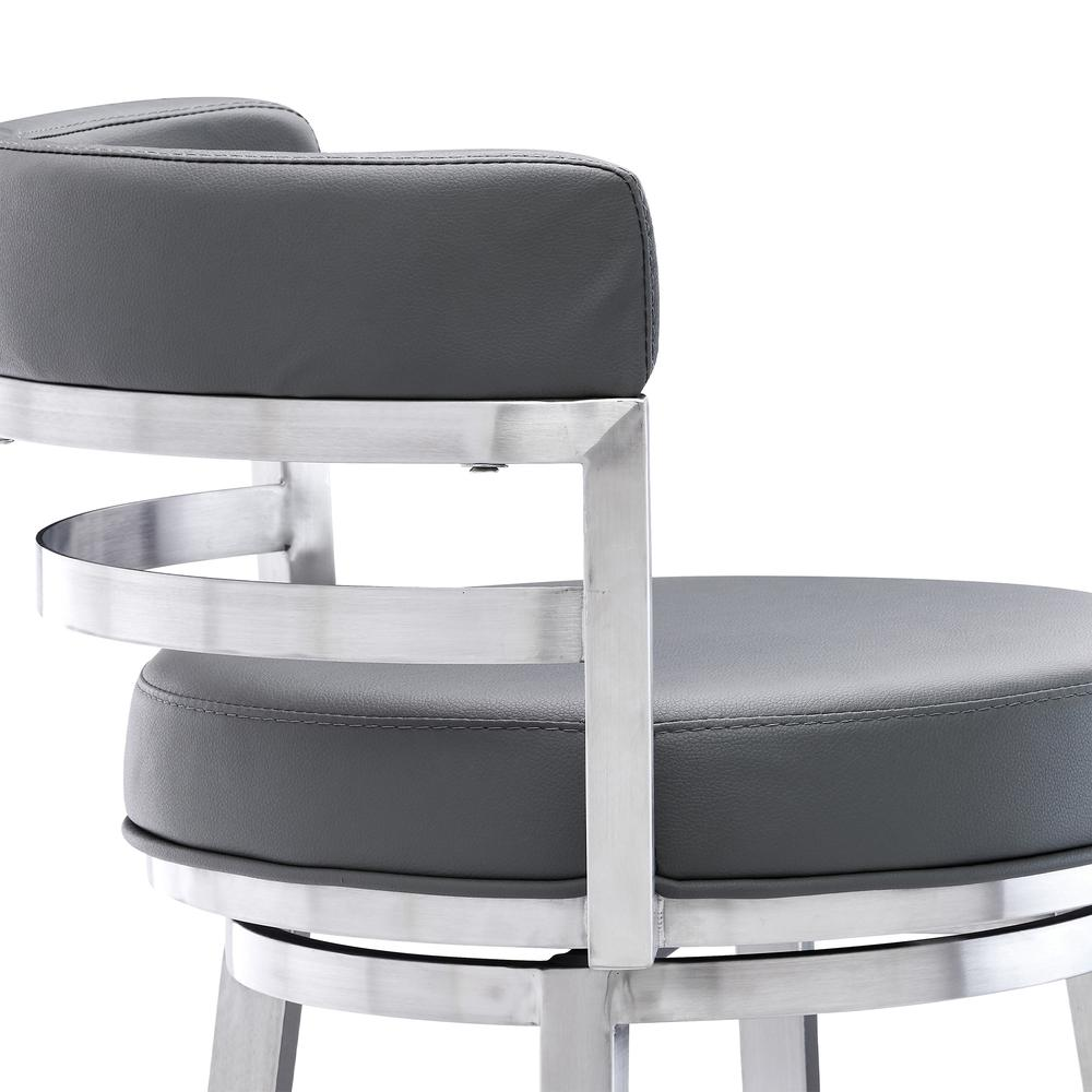 "Madrid Contemporary 26"" Counter Height Barstool in Brushed Stainless Steel Finish and Grey Faux Leather. Picture 5"