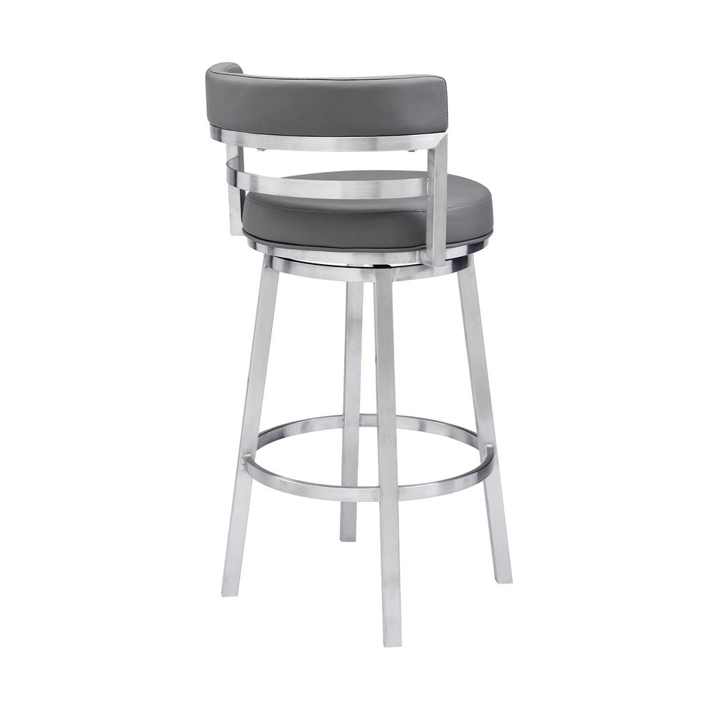 "Contemporary 30"" Bar Height Barstool in Brushed Stainless Steel Finish, Grey Faux Leather. Picture 3"