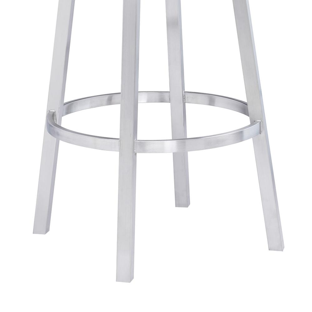 "Contemporary 30"" Bar Height Barstool in Brushed Stainless Steel Finish, Grey Faux Leather. Picture 6"