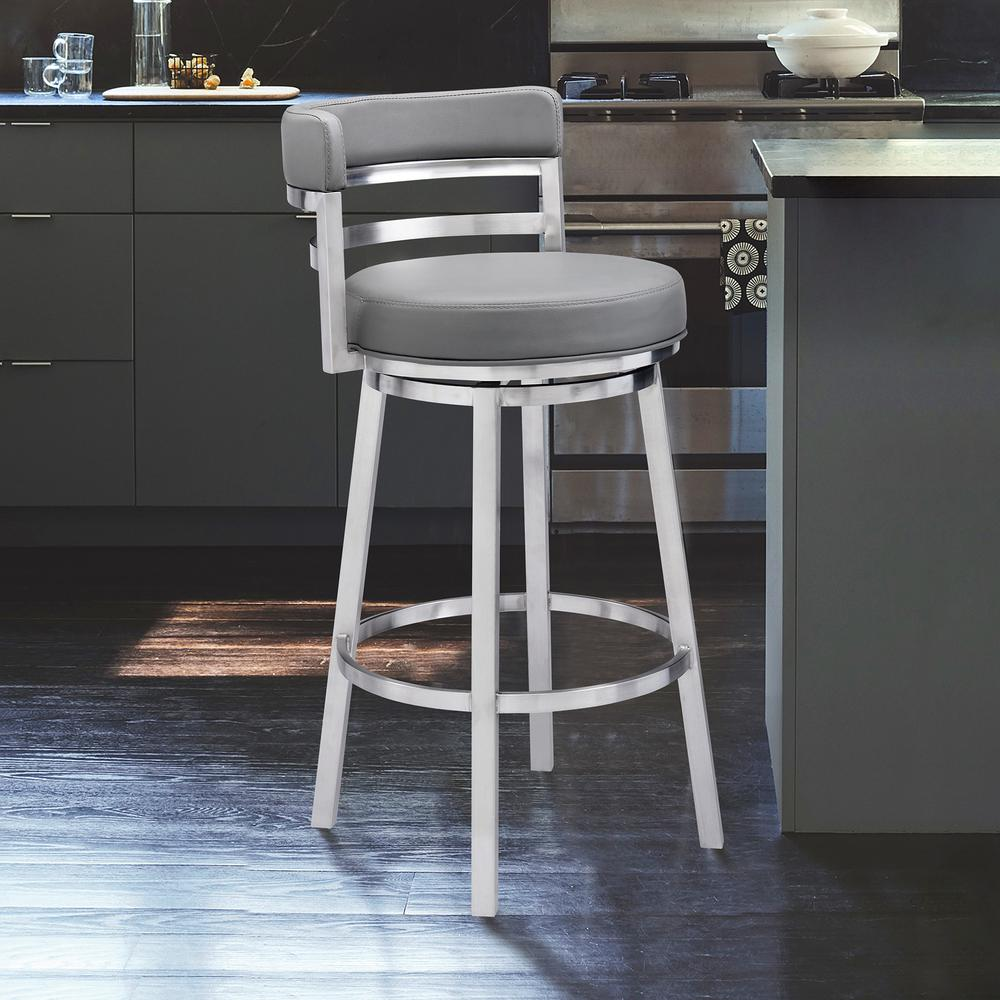 "Contemporary 30"" Bar Height Barstool in Brushed Stainless Steel Finish, Grey Faux Leather. Picture 7"