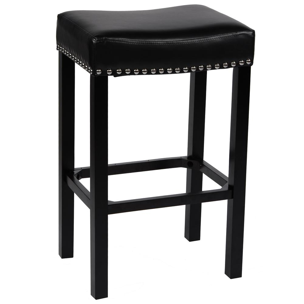 """Armen Living Tudor 26"""" Backless Stationary Barstool in Black Bonded Leather with Chrome Nailhead Accents. Picture 1"""