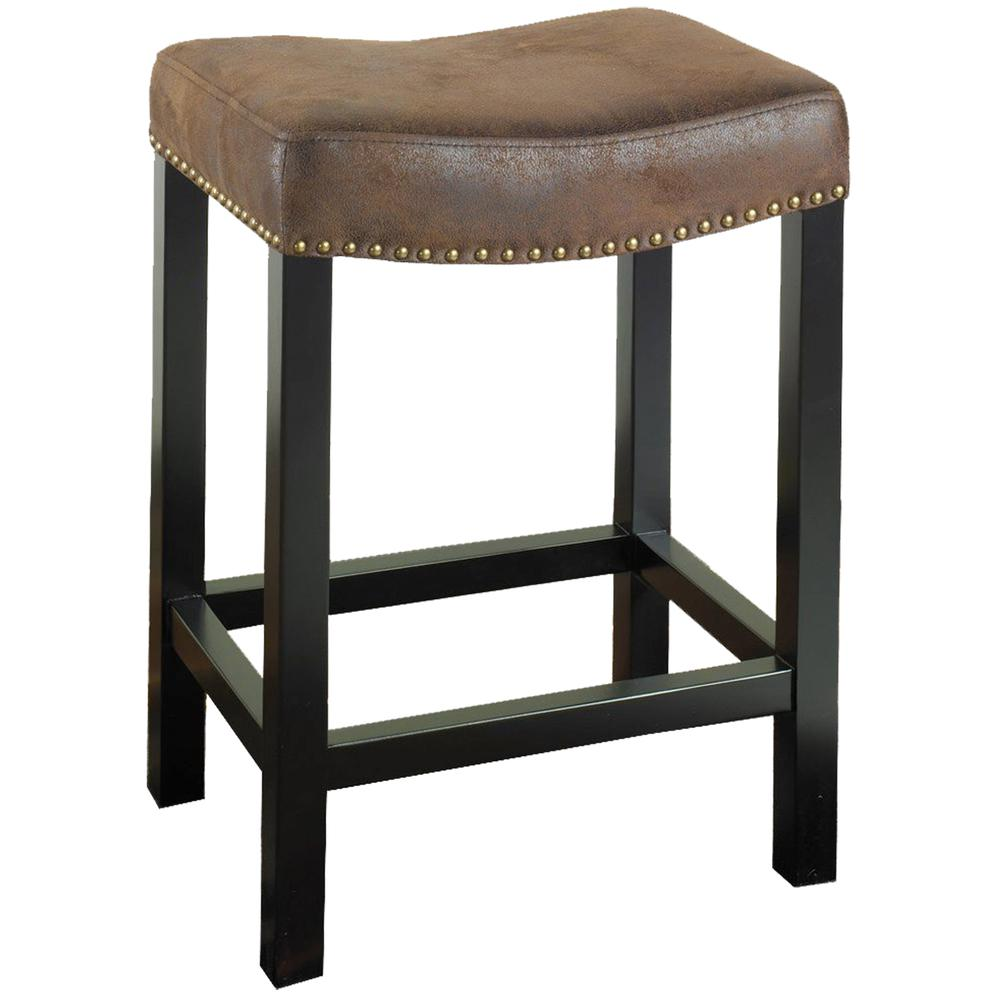 """30"""" Backless Stationary Barstool in Wrangler Brown Fabric with Nailhead Accents. Picture 1"""