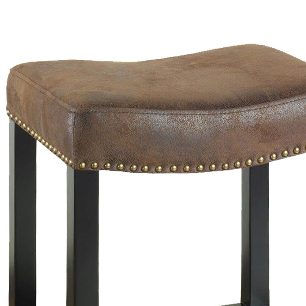 """30"""" Backless Stationary Barstool in Wrangler Brown Fabric with Nailhead Accents. Picture 2"""