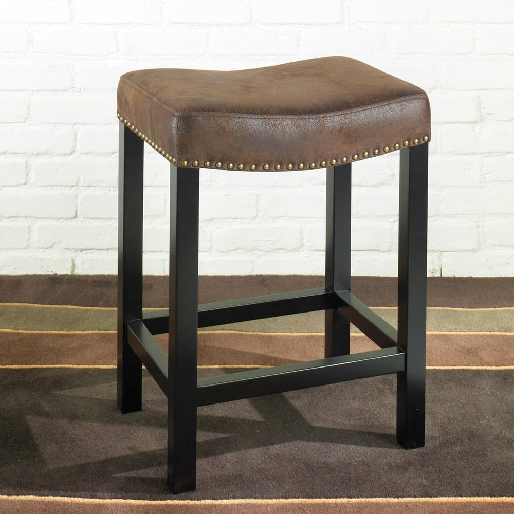 """30"""" Backless Stationary Barstool in Wrangler Brown Fabric with Nailhead Accents. Picture 4"""
