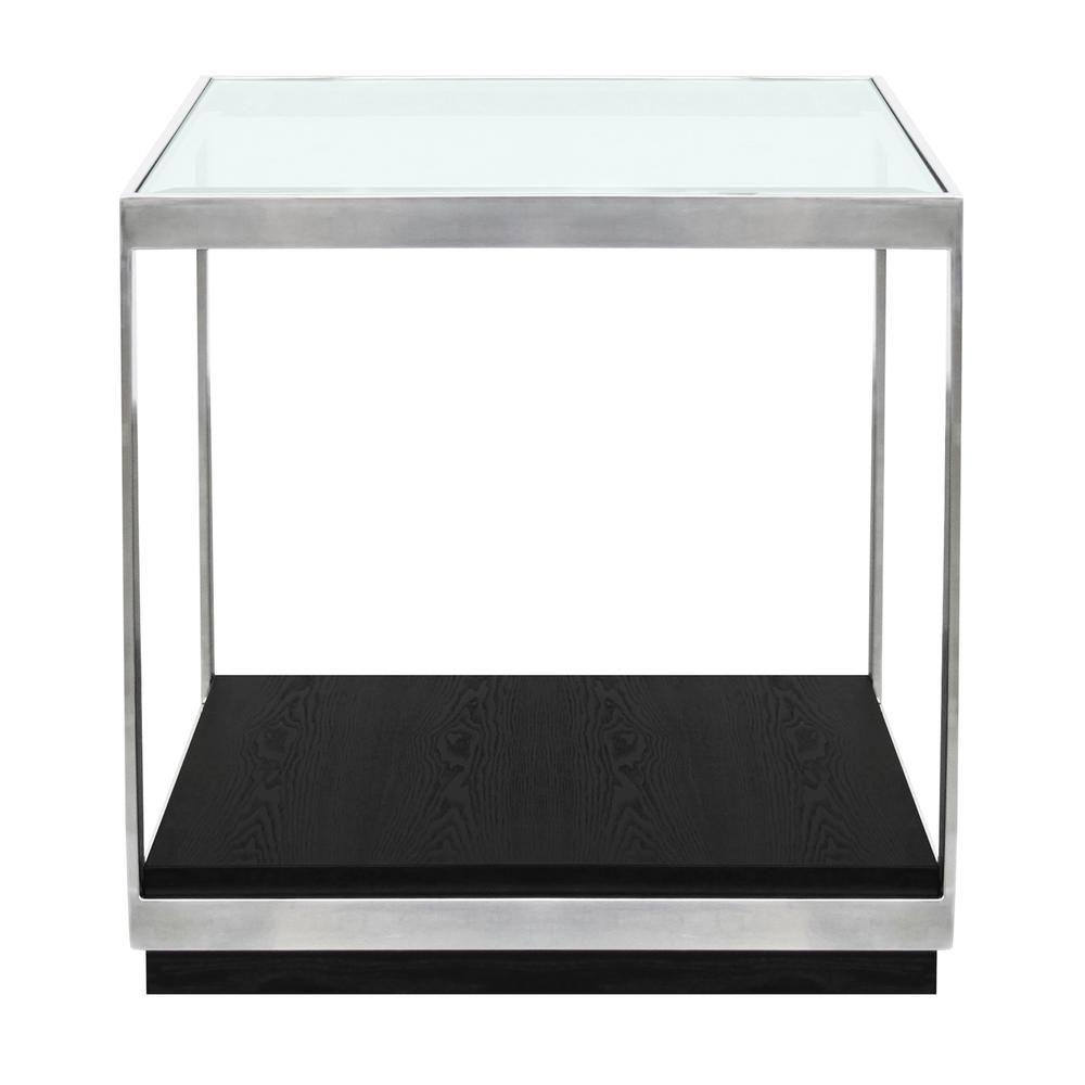 Contemporary End Table with Polished Stainless Steel and Glass Top. Picture 1