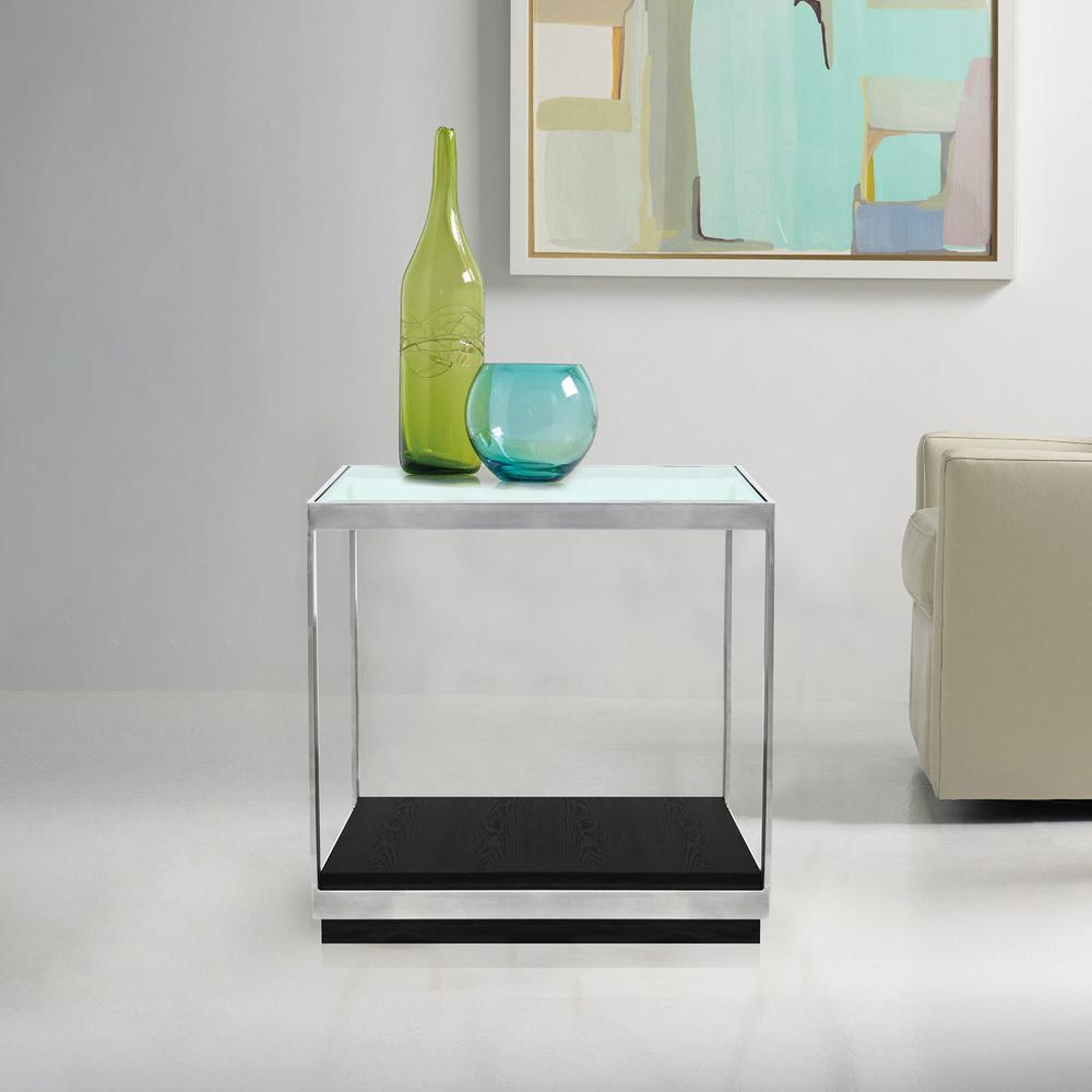 Contemporary End Table with Polished Stainless Steel and Glass Top. Picture 2