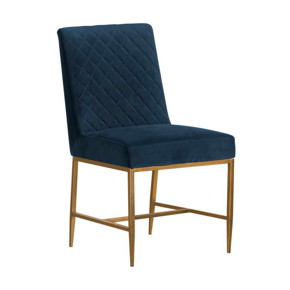 Memphis Blue Velvet and Antique Brass Accent Dining Chair- Set of 2, Natural Color. Picture 1