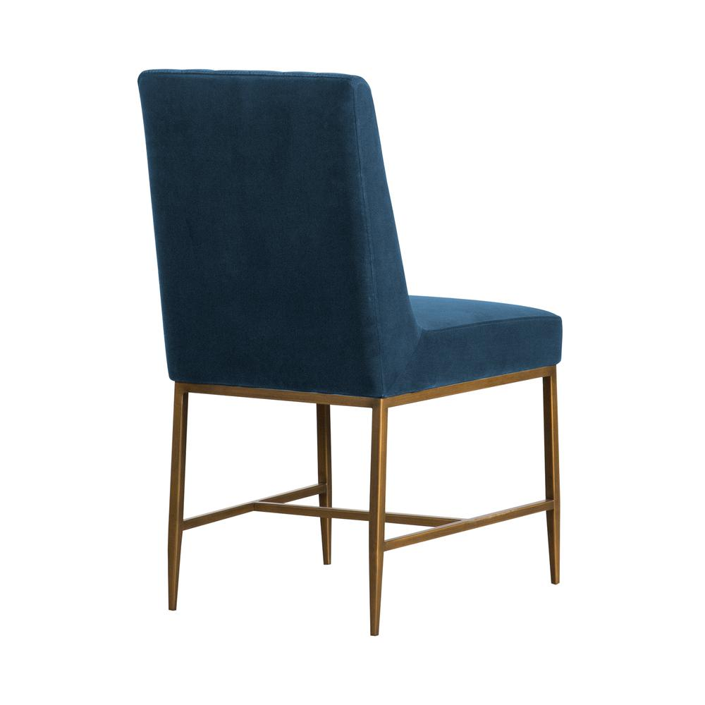 Memphis Blue Velvet and Antique Brass Accent Dining Chair- Set of 2, Natural Color. Picture 2