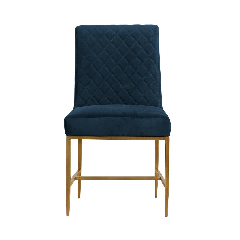 Memphis Blue Velvet and Antique Brass Accent Dining Chair- Set of 2, Natural Color. Picture 3