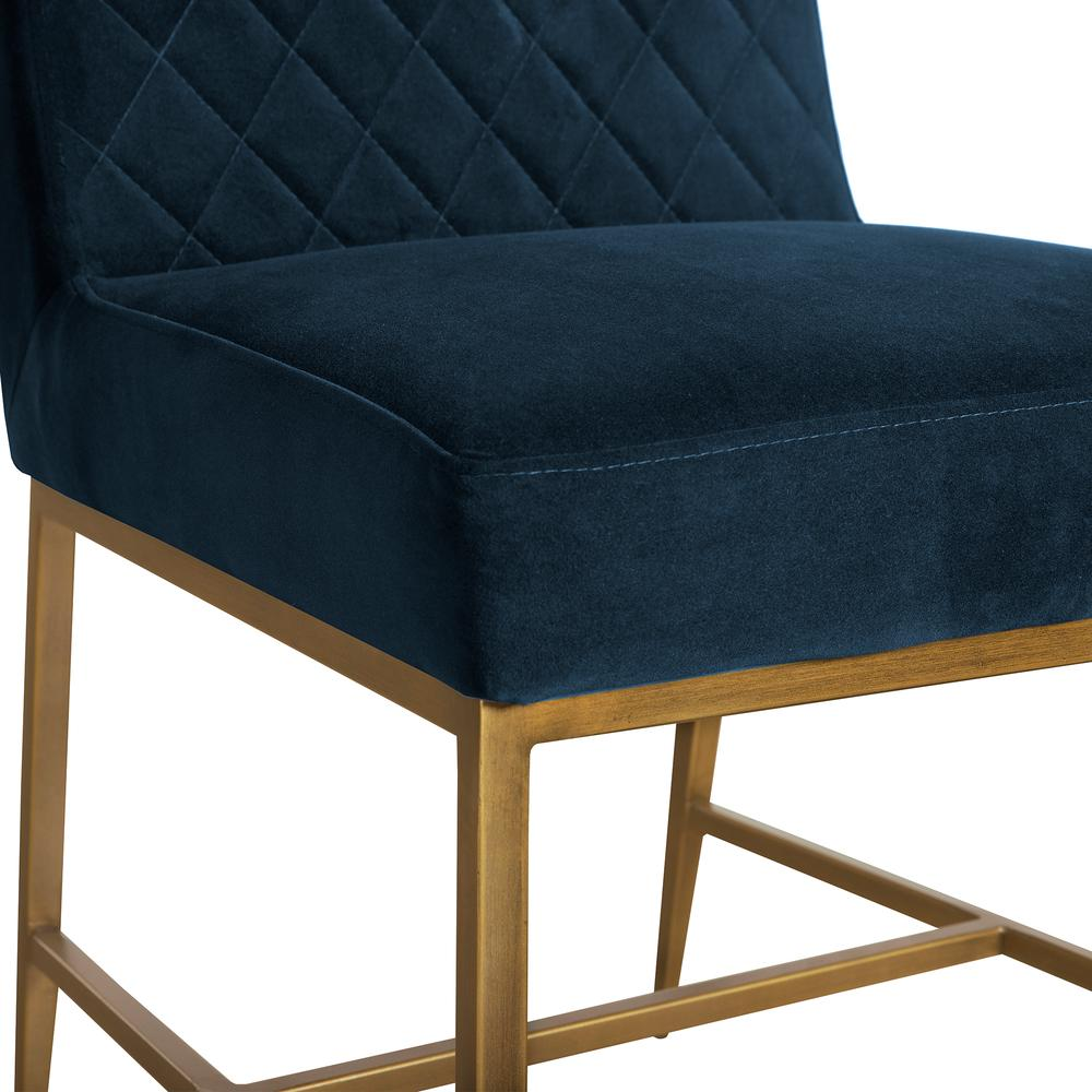 Memphis Blue Velvet and Antique Brass Accent Dining Chair- Set of 2, Natural Color. Picture 4