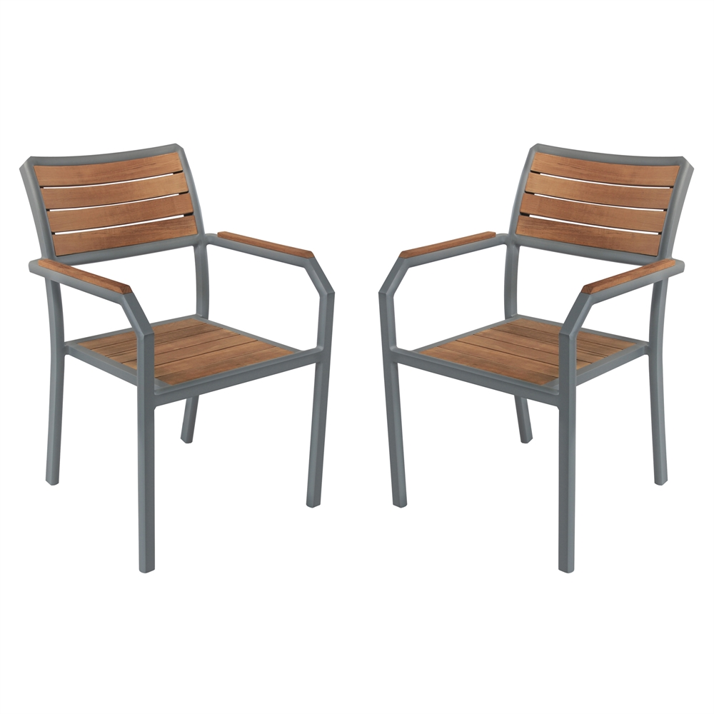 Minsk Outdoor Patio Dining Chair in Gray Powder Coated