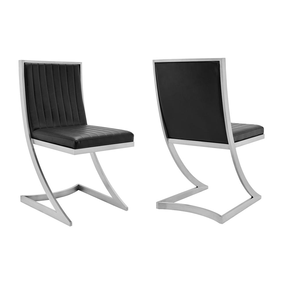 Marc Vinage Black Faux Leather and Brushed Stainless Steel Dining Room Chairs - Set of 2. Picture 1