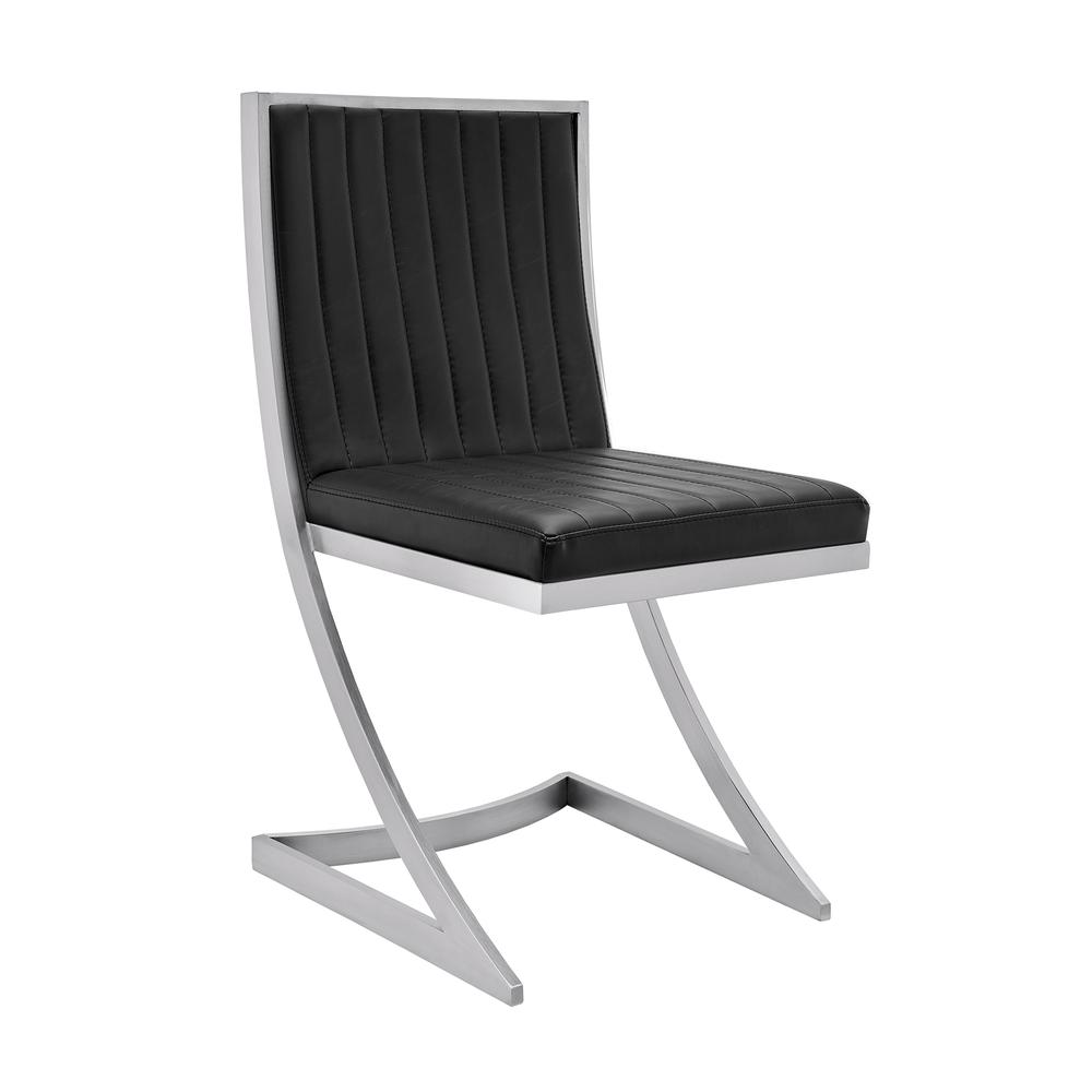 Marc Vinage Black Faux Leather and Brushed Stainless Steel Dining Room Chairs - Set of 2. Picture 2