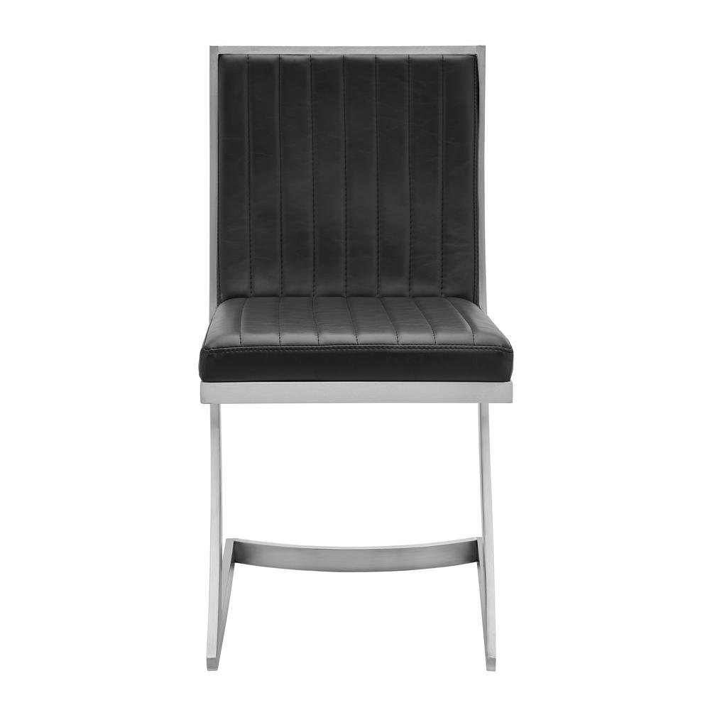 Marc Vinage Black Faux Leather and Brushed Stainless Steel Dining Room Chairs - Set of 2. Picture 4