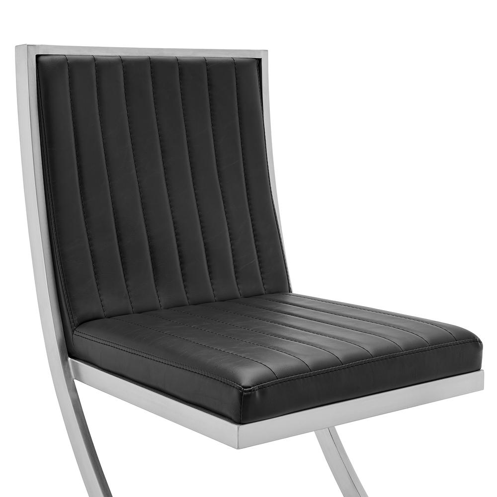 Marc Vinage Black Faux Leather and Brushed Stainless Steel Dining Room Chairs - Set of 2. Picture 5