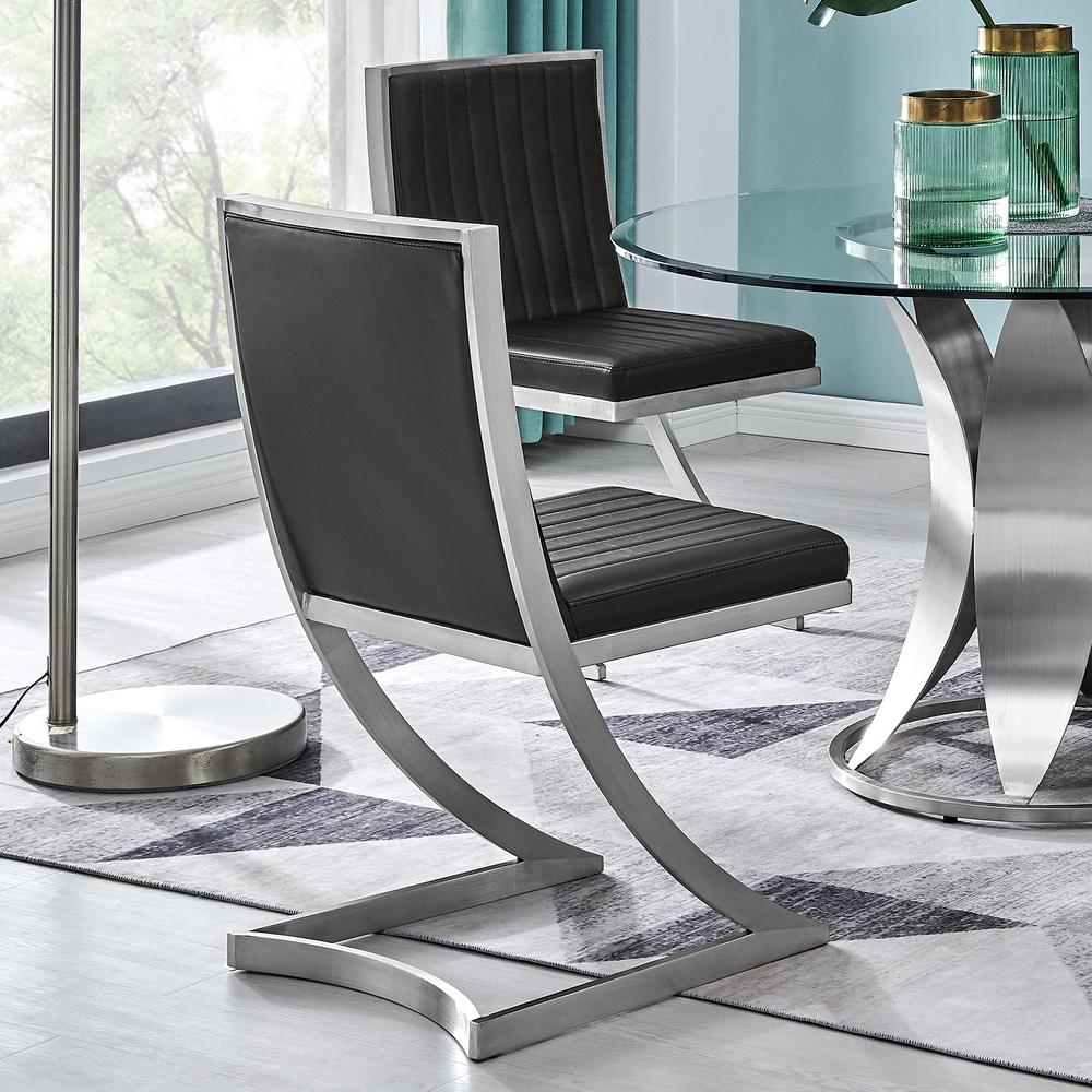 Marc Vinage Black Faux Leather and Brushed Stainless Steel Dining Room Chairs - Set of 2. Picture 8
