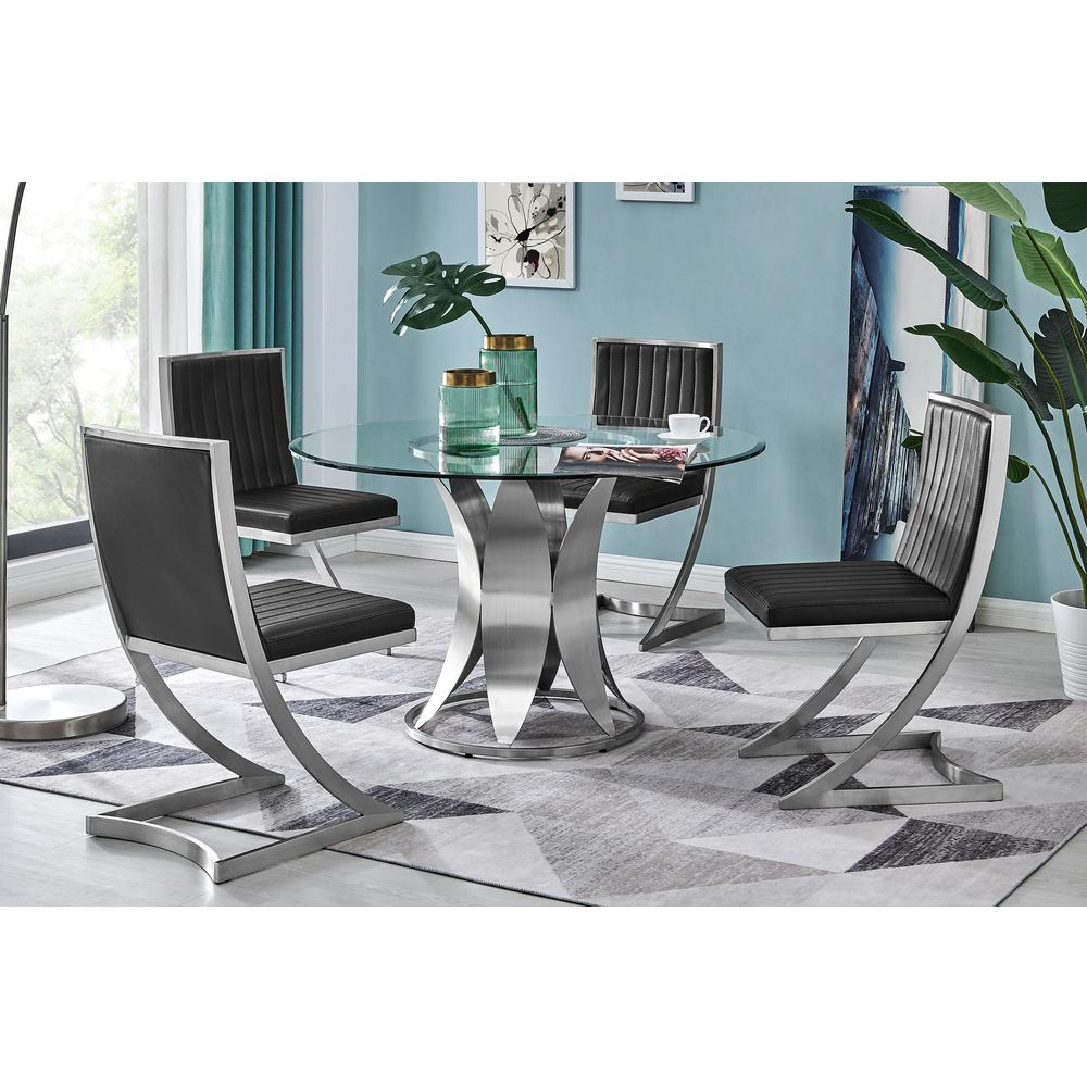 Marc Vinage Black Faux Leather and Brushed Stainless Steel Dining Room Chairs - Set of 2. Picture 9