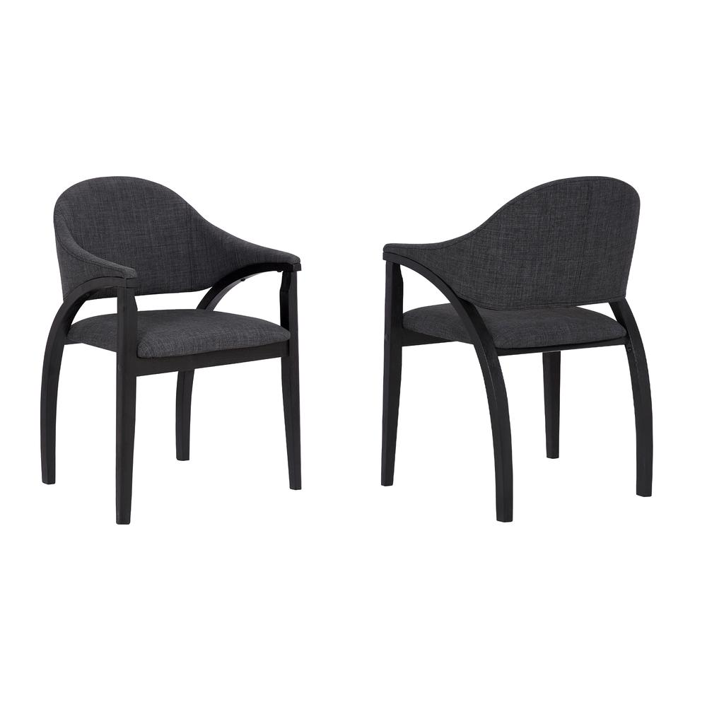 Contemporary Dining Chair in Black Brush Wood Finishand Charcoal Fabric - Set of 2. Picture 1